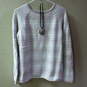 Eddie Bauer Taupe/White cotton sweater